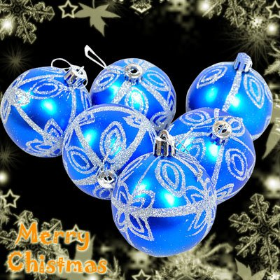 6 Blue XMAS Christmas Tree Baubles Glittery Silver Design Star Pattern