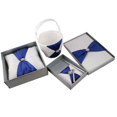 Blue Elegant Satin Guest Book Ring Pillow Flower Basket