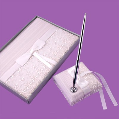 Floral Lace Veil Wedding Guest Book and Pen Set