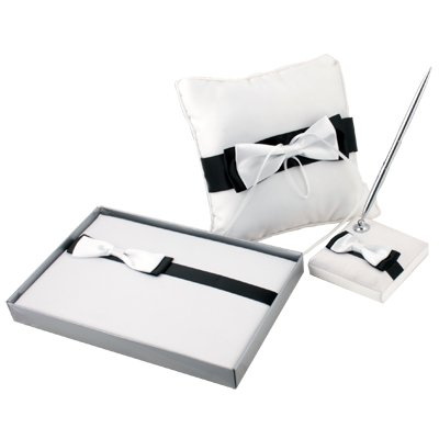 Black & White Wedding Guest Book Ring Pillow Pen set #6846#