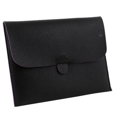 Black Pouch Leather Bag Case Cover for iPad 1/2