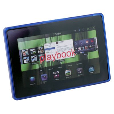 TPU Clear Ripple Case Cover for Blackberry Playbook Blue