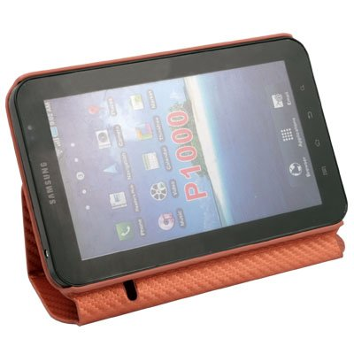 Matts Leather Case with Stand for Samsung Galaxy P1000 Orange