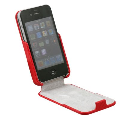 Red Matte Pattern PU Leather Skin Case for iPhone 4G 4S