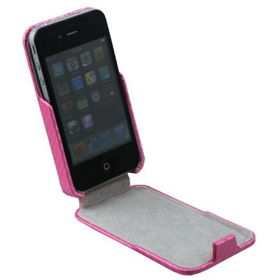 Matte Pattern PU Leather Case for Apple iPhone 4G(Pink)