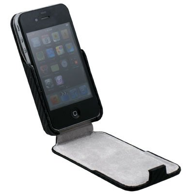 For Apple iPhone 4G Matts Pattern PU Leather Case (Black)