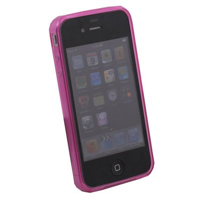 Pink Transparent DotWave Rubber Case Accessory for Apple iPhone 4 4G 4S