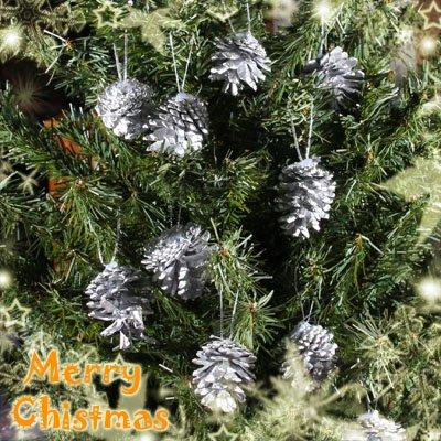 Lot Of 12 Vintage Sparkley Pinecones Christmas Xmas Ornaments Snow Silver