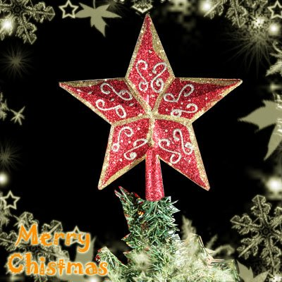 Christmas Tree Top 3D Star Decoration with Golden Design Pattern 19cm