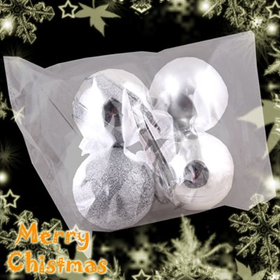 4 Cute Christmas Tree Hanging Item Mixed Ball Charms Decoration Ornaments Silver