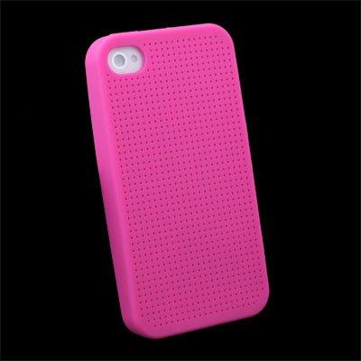 Cross Stitch Silicone Skin Case for iPhone 4 Peach #7103#