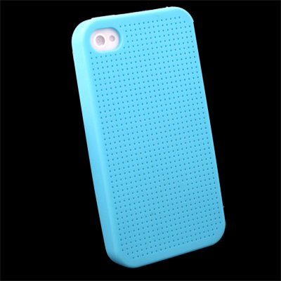 Blue Cross Stitch Silicone Case for iPhone 4 #7111#