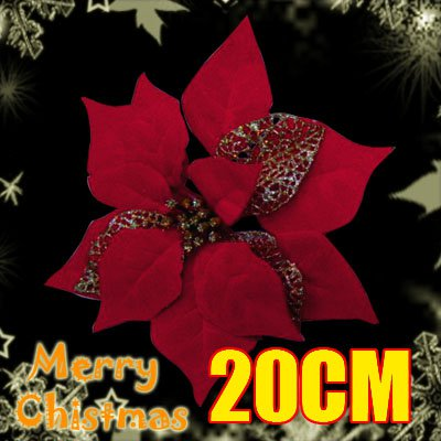 Sparkly Shinning Artificial Plastic Christmas Flower Ornament Decor Golden Red