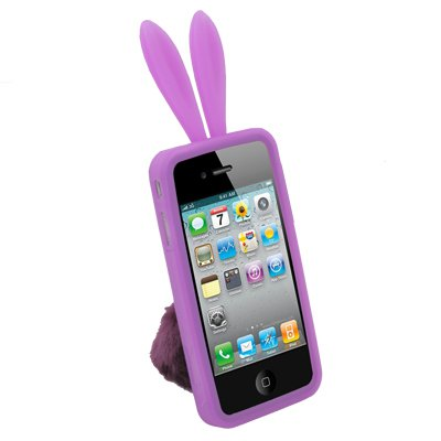 Purple Rabbit Design Silicone Skin Case With Stand for Apple iPhone 4