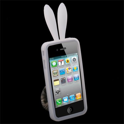 For iPhone 4 Rabbit Design Silicone Skin Case With Stand White