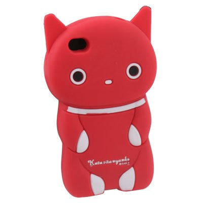 Red Cute 3D Kutusita Cat Silicone Soft Case Skin Cover For iPhone 4 4G 4S