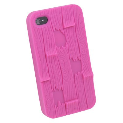 Peach Three-dimensional Relief bark Silicone Cover Case For iPhone 4 4G 4S