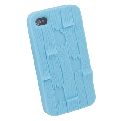Blue Three-dimensional Relief bark Silicone Cover Case For iPhone 4 4G 4S