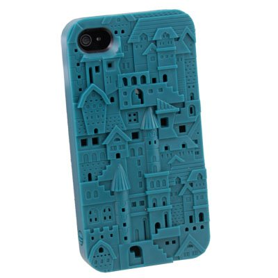 Green Three-dimensional Relief Castle Hard Cover Case For iPhone 4 4G 4S
