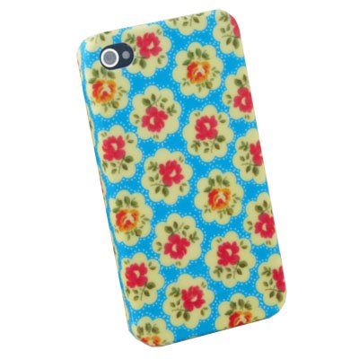 Azure Flowers Slim Hard Case Cover For iPhone 4 4G