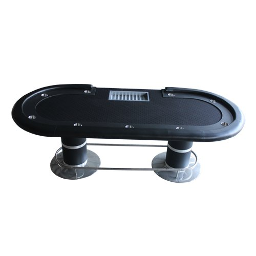 "96"" Bk Poker Table w Racetrack & Cup Holders & Metal Chip Trays (Ship US Country Only)#14849-Bk#"