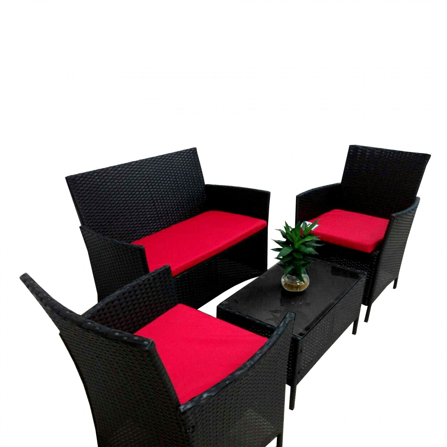 4PC Cushioned Outdoor Patio Garden Furniture PE Rattan Set Red(Ship US Country Only)#AS-17038-R#{4}