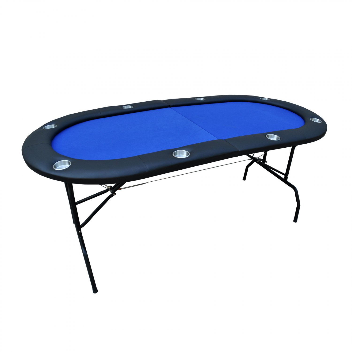 "73"" 8 Player Foldable Poker Table Casino Texas Holdem Blue Ver.2 (Ship US Country Only)#16361-BL#"