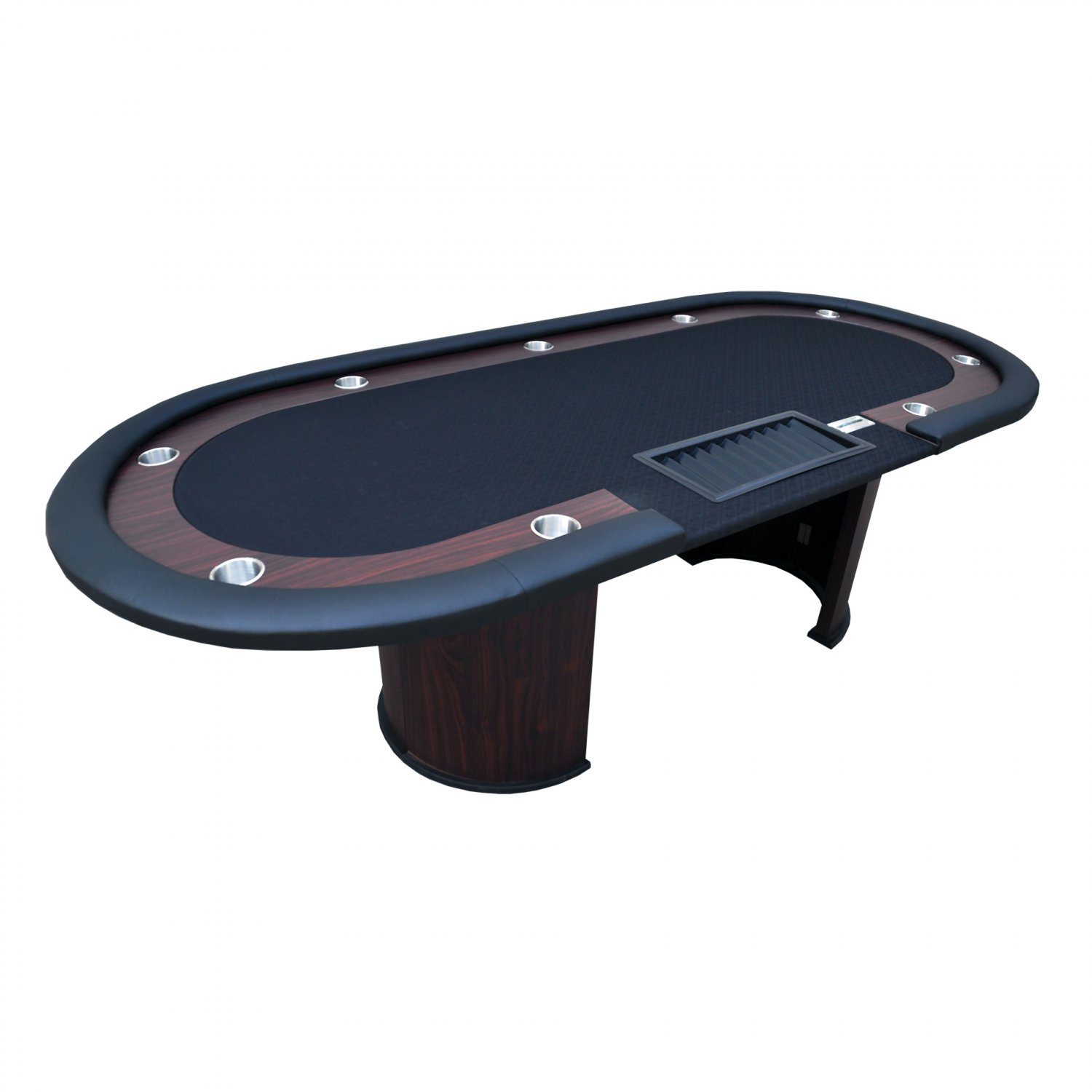 """96"""" 10 Players Texas Hold'em Wooden Legs Poker Table W/ Drop Box Black Ver.2(Ship US Only)#16367-BK#"""