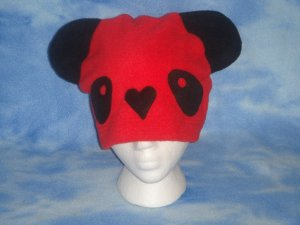 Red Fleece Panda Hat Kawaii Cosplay Bear