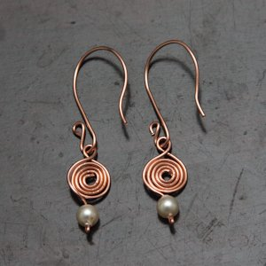 Dangling Swarovski Pearls off Spirals