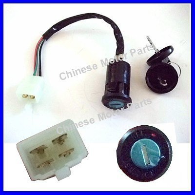 "Ignition Switch Two Keys 2 Stages Female Plug 8"" ATV"