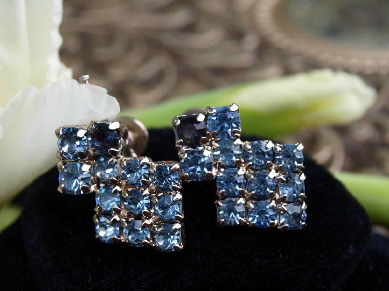 Blue-Glass Drop Earrings