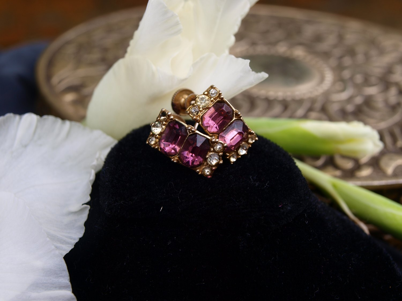 Glass Amethyst  Earrings