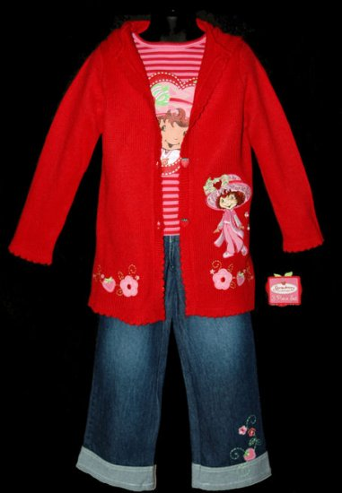 2T GIRLS STRAWBERRY SHORTCAKE SWEATER JEANS TOP NEW