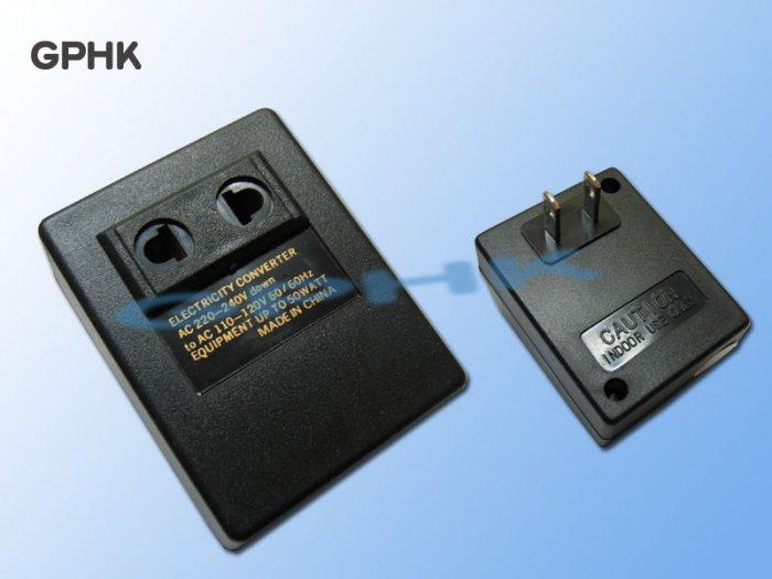 Electricity Converter Adapter 220V-240V to 110V-120V + prongs changer