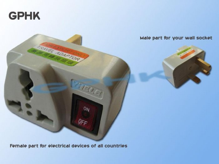 Universal AC Travel Adapter for UK Socket with switch