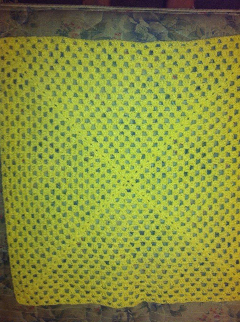 Crocheted Yellow Newborn Blanket