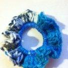 Blue Crocheted Variegated Hair Scrunchie