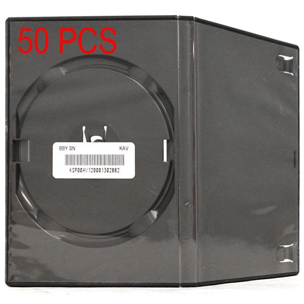 50 Standart Single DVD Cases 14 mm Black Eco Friendly by ECOTECH