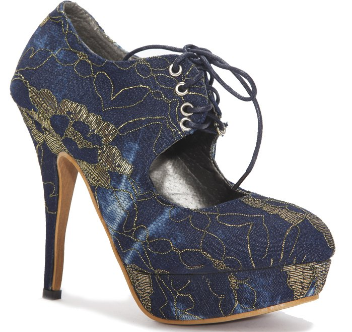 """New Dark Blue Embroidery 4.7""""Heels Pump shoes US7"""