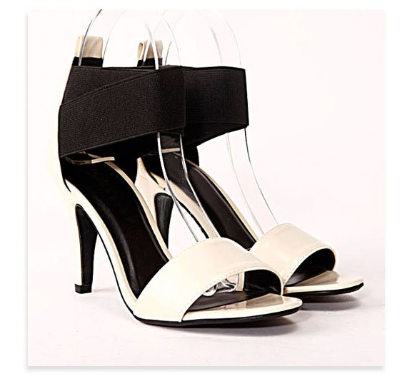 "White Black Open toe 3.5"" heels shoes US6.5"