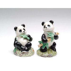 Panda Couple Eating Bamboo Salt and Pepper