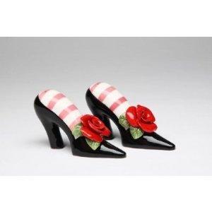 Black High Heel Shoe with Red Rose Flower Salt & Pepper