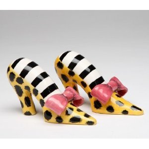 Leopard Print High Heel Shoe With Pink Bow Salt Pepper
