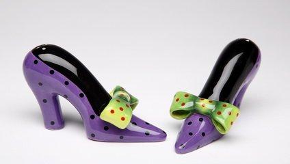 Purple High Heel Shoe with Green Bow Salt Pepper