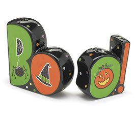 Halloween BOO! Hand Painted Ceramic Salt and Pepper