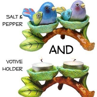 Bird Nest Salt Pepper and Tealight Holder Home decor