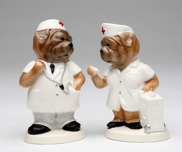 Hospital Doctor and Nurse BullDogs Salt and Pepper