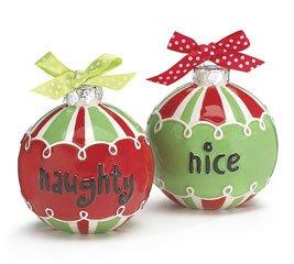 Christmas - Naughty or Nice Ornament Salt and Pepper