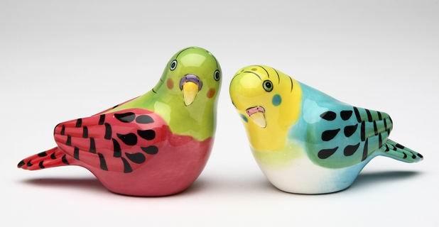 Pink and Blue Parakeet Bird Salt and Pepper